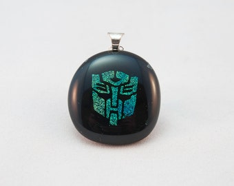 Dichroic Transformers Autobot  fused glass necklace