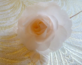 Small Silk Millinery Rose Pale Peachy Pink for Hats, Wreaths, Corsages, Bridal Flower Weddings