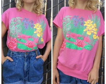 1980's pink meadow scene baggy t-shirt