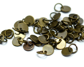 """100 Pieces Antique  Brass  6 mm (15/64"""" ) Round Disc with Jump Ring Attached Charms Findings"""