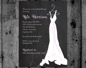 Chalk Couture Bridal Gown Shower Printable Invitation