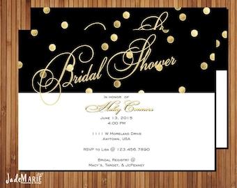 Gold Black Bridal Shower invitation Printable