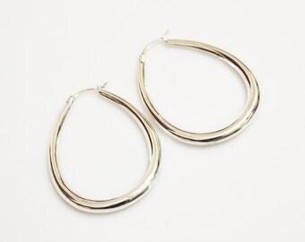Vintage Sterling Silver Earrings, Teardrop Hoop Earrings
