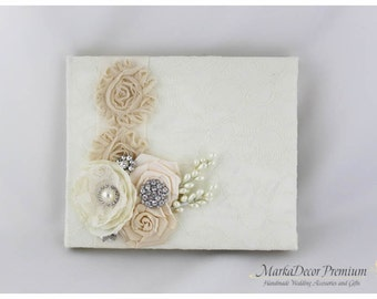 READY TO SHIP Wedding Lace Guest Book Custom Made in Ivory and Champagne  with Handmade Flowers, Brooches and Stamens' Accents