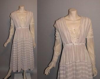 Vintage 1910s On the Boardwalk Titanic Edwardian Tea Dress Linen Womens Dress - M