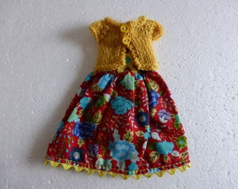 """Hand Made Neo Blythe 12"""" Doll or Bratz Doll Red Aqua Floral Voile Dress with Ric Rac Trim and Matching Yellow Knitted Short Sleeve Cardy"""