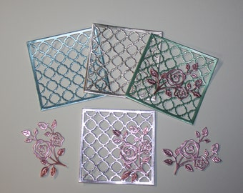 4 Mirror Board Embellishments/4 Cottage Cutz Flowering Vine/Die Cuts/Scrapbooking/Card Making/Embellishments/ Cottage Cutz