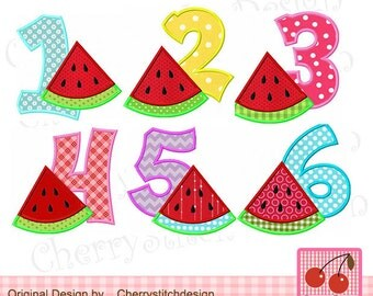 """Watermelon Numbers set Birthday Numbers Machine Embroidery Applique Design -4x4 5x5 6x6"""""""