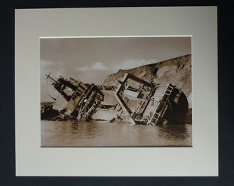 Vintage Shipwreck Print, Nautical Gift, Sepia Sea Decor, Available Framed, Ship Art, Maritime Photography, Ben Asdale Fishing Trawler Boat