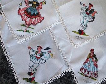 Four Vintage Silk Greece Handkerchiefs
