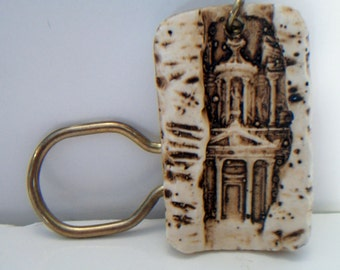 Beige Ceramic Cathedral Keychain Architectural Key Chain Accessories