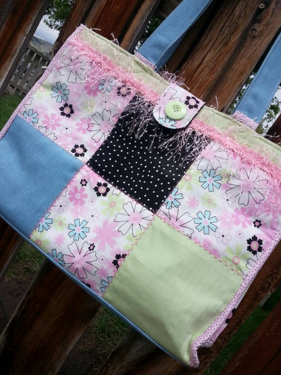 Patchwork Diaper Bag, Pink Tote Bag, Travel Bag with pockets