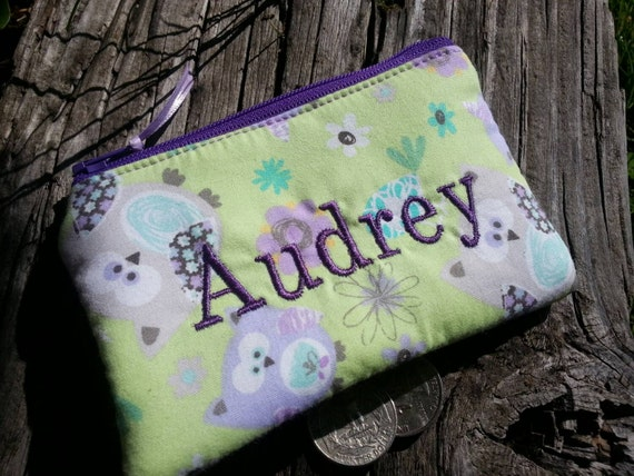 Owl Coin Purse, Personalized Zipper Wallet, Girl's Coin Purse