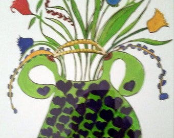 "Tulips in a Purse - One of a Kind - 11x14"" ORIGINAL"