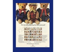 AMERICAN WILDLIFE STAMP Set United States Postal Service Original 1987 Vintage Color Print Ad - Stuffed Teddy Bears Collecting Post Office