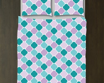 Quatrefoil Bedding Set-Duvet Cover and Shams-Teal-Purple-Customize with ANY COLORS-Twin/Twin XL, Full/Queen, King-Size-Dorm Room Bed