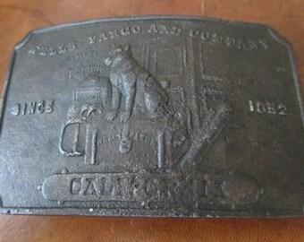 Vintage Wells Fargo Brass Belt buckle - estate find!