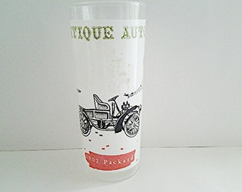 Vintage Hazel Atlas 1902 Packard Automobile Iced Teas Tumbler, 1950's Collectible Masculine/Gift/Barware/Mid Century/Antique Autos
