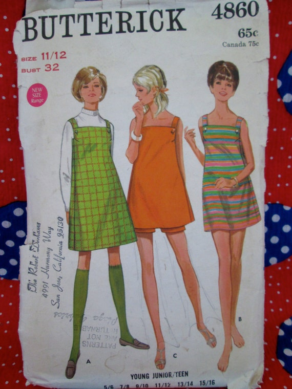 Vintage Early 1970's Butterick Pattern #4860 Young Junior/Teen DRESS or JUMPER and SHORTS Printed Sewing Pattern w/ Instructions~ Summertime
