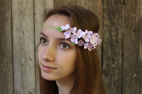 Headband Wedding headband Hair piece Bridesmaids Flower girl Pink hydrangea Polymer clay flower