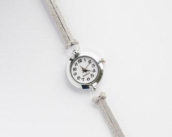 Silver Suede Bracelet Watch