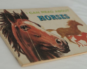 Horse book for children. Old kids books. Vintage child educational horses picture book. Gift for horse lover child. Horse art book for child
