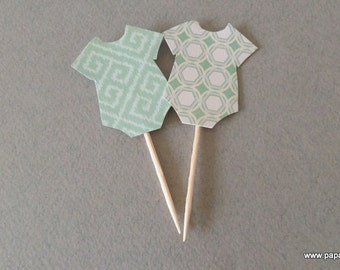 Onesie Cupcake Toppers in Mint Color