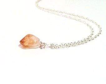 Sterling Silver Chain, Semiprecious Raw Citrine Wire Wrapped Pendant Charm Necklace. Sterling Silver Minimal Gemstone Boho Necklace
