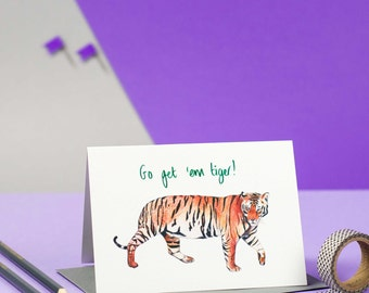 Go Get Em' Tiger Illustrated Encouragement Good Luck Card