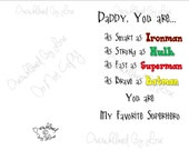 Daddy Is My Superhero Instant Download Printable Card
