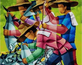 Mga Mangingisda 2 (Different Colors) -Cross Stitch Pdf Pattern