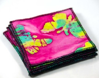 "8 Batik Butterfly Makeup Remover Pads, Face Wipe, Finger Wipes Go Green - Reusable Cloth Pad -   3 3/4"" Square  Cotton Batik & Jersey"