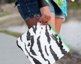 Zebra Leather Clutch - Black and White Leather Clutch - Zipper Clutch - Zebra Print Leather Clutch With Green Zipper - Made in USA