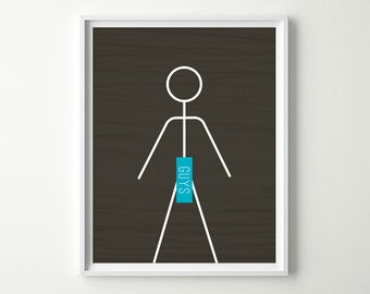 Bathroom Decor - Bathroom Wall Art - Men Guys Restroom Sign - Funny Bathroom Sign - Men's Bathroom Decor - Shown in Charcoal & Turquoise