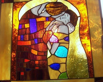 Exquisite Stained Glass Window Panel, Klimt's Kiss, Lovers, Leaded Cut Glass, NOT painted, Valentines Gift, Home Decor, Wedding Gift