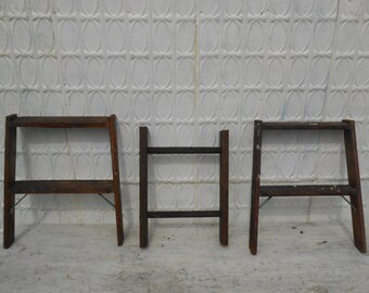 Pick from 3 Short Antique Wooden Ladders - 697071