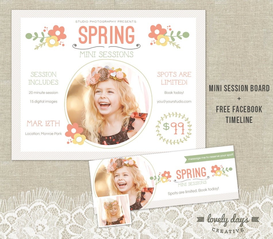 flyer template spring mini session template marketing board flyer plus timeline for photographers instant