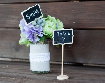 Mini Chalkboard/ BlackBoard Table Stands - Place Settings, Food Marker, Table Numbers ( Set of 5 )