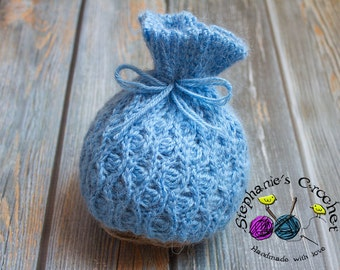 Crochet newborn sack hat, photography prop, infant boy/girl hat, photo prop, crochet baby hat-Made to order