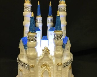 Fairy Tale Castle Cake Topper with lights, Castle Cake Topper,  Princess Birthday, Princess Cake Topper, Princess Party Decorations