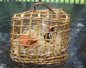 Dollhouse Miniatures - Pair of Chicken / Hens in Bamboo Crate with Hay - Fairy Garden -