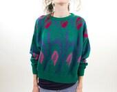 Green sweater, knit wool sweater, women jumper, pullover, small, S