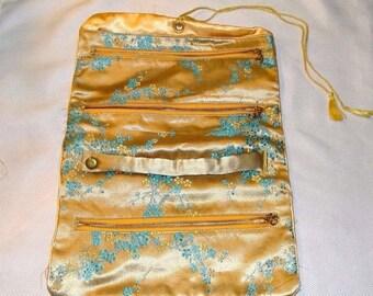 Vintage Silk Asian Clutch bag, gold silk, blue floral design, 3 zippers, 4 sections, snap clutch handle