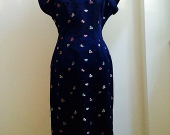 Vintage Late 1950s Suzy Wong Cheongsam / Deep Blue / Wiggle Asian Dress Oriental Quipao / L Size