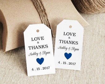 Gift Tag Template, Text Editable, Royal Blue Heart, SMALL Tag Size, INSTANT Digital Download, Favor tag, Thank You Tag, Wedding Tags