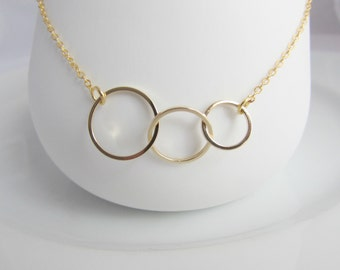 Gold Ring Necklace, Triplet Gift, Sister Gifts, Bridesmaid Necklace, Gifts for Girls, UK Seller, Mom Daughter Necklace, Bridesmaid Gift