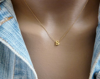 Gold Initial Necklace, Delicate initial necklace, Initial jewelry, Gold lowercase necklace