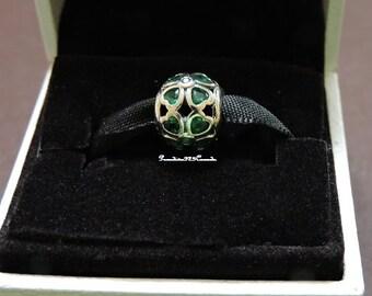 Pandora Sterling Silver Green C.Z Lucky Clover Bead