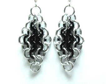 Chainmaille Earrings   Hand Crafted Chainmaille Jewelry   Handmade Earrings   Black and Silver   Anodized Aluminum