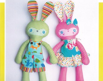 "Pattern ""Benny and  Boo"" Bunny Stuffed Toy, Soft Sculpture, Cloth Toy Sewing Pattern by Melly & Me (MM142)"